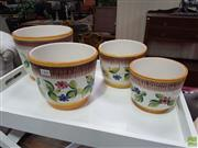 Sale 8601 - Lot 1408 - Set of Four Italian Hand Painted & Engraved Planters (1494)