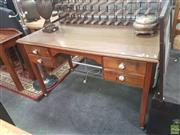 Sale 8620 - Lot 1100 - Timber Desk with Four Drawers & Ceramic Handles