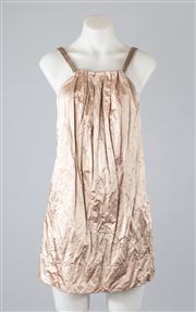 Sale 8685F - Lot 8 - A Lisa Ho champagne coloured polished cotton-blend mini dress with metallic trim, size AUS 6