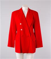 Sale 8740F - Lot 71 - A vintage Carla Zampatti double breasted red wool crepe blazer, size 12 (buttons are all red, the white is a reflection)