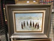 Sale 8720 - Lot 2057 - Hana Juskovic - Figures in Landscape 24.5 x 35cm