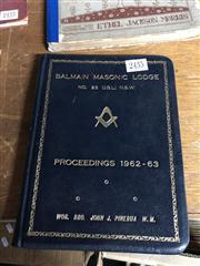 Sale 8819 - Lot 2435 - Balmain Masonic Lodge No. 23 U.G.L. N.S.W. Proceedings 1962-63