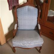 Sale 8878T - Lot 61 - French Style Double Rattan Conservatory Chair with Blue Upholstery Dimensions - Height 106cm x Width 63cm