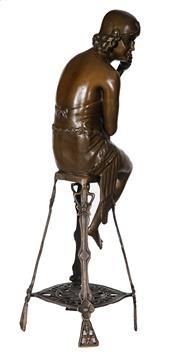 Sale 9034A - Lot 5058 - Woman on stool, bronze sculpture after J.E. Nir, H 55 cm