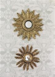 Sale 9087H - Lot 34 - Antique French carved timber sunburst design mirror  -47cm
