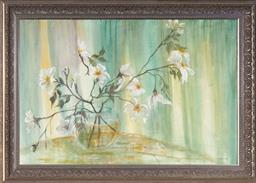 Sale 9099A - Lot 5063 - Charlotte Oesterlein (1920 - ) - Still Life - White Arrangement 59.5 x 90 cm (frame: 76 x 106 x 4 cm)