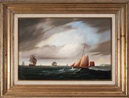 Sale 9190H - Lot 25 - Robert Dumont-Smith (1908 - 1994) - Maritime Scene 30 x 45 cm (frame: 48 x 63 x 4 cm)