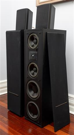 Sale 9256H - Lot 44 - A pair of Polk Audio real time array loud speakers 11TL, H 97cm x W 27cm x D 36cm together with a pair of small speakers.