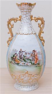 Sale 8430 - Lot 57 - A Victoria-Karlsbad Bohemian mantel vase printed with scenes of dandies and flowers. Height 44cm.