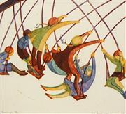 Sale 8411A - Lot 5018 - Ethel Spowers (1890 - 1947) - Swings 30 x 32cm (frame size 53 x 53cm)
