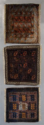 Sale 8472C - Lot 77 - 3 x Antique Persian Door Mats 50cm x 55cm