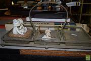 Sale 8509 - Lot 2261 - Plated & Crystal Savory Dish, Ceramic Figures & Tripod