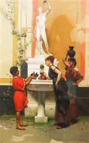 Sale 8597 - Lot 575 - Paolo Mei (1831 - 1900) - By the Water Fountain 39 x 25cm