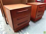 Sale 8625 - Lot 1032 - Pair of G-Plan Teak Bedsides with Three Drawers (H: 53 W: 48 D: 46cm)