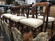 Sale 8848 - Lot 1099 - Set of 6x 19th Century Cedar + 2 Mahogany Dining Chairs, with balloon backs, cream upholstered seats and turned legs