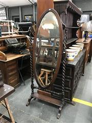 Sale 8868 - Lot 1546 - Oak Barley Twist Cheval Mirror