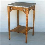 Sale 8878T - Lot 62 - Oak Arts & Crafts Conservatory Corner Table with a Unpolished Granite Top Dimensions - 77cm x 46cm x 46cm