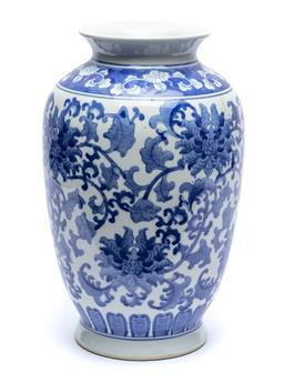 Sale 9070H - Lot 97 - Blue and white vase of Oriental form with repeating blue and white floral blooms, height 35cm