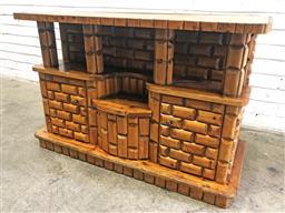 Sale 9112 - Lot 1047 - Log cabin form two door hall cabinet (h:71 w:106 d:48cm)