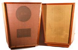 Sale 9136 - Lot 32 - A pair of large teak framed speakers (H: 83cm)