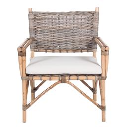Sale 9250T - Lot 79 - A pair of armchairs featuring thick rattan frame & linen cushions. Height 87cm x Width 68cm x Depth 70cm