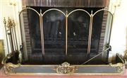 Sale 8430 - Lot 51 - A brass fire tool set with stand together with a four panel mesh screen