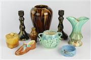 Sale 8452 - Lot 11 - Bendigo Pottery Vase with Other Studio Pottery incl. Daisy Ware Candlesticks