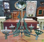 Sale 8559 - Lot 1012 - Victorian Style Cast Iron & Verdigris Chandelier, with four branches & decorative brackets