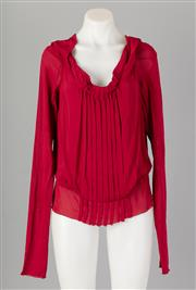Sale 8661F - Lot 81 - An Alberta Ferretti rayon blend blouse with a ruched and pleated panel to front, with wide open neckline, size 12