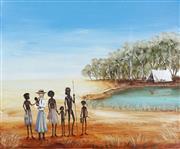 Sale 8722A - Lot 5017 - Sue Nagel (1942 - ) - Kabbarli (Daisy Bates) with Ooldea Family, 2014 50.5 x 61cm