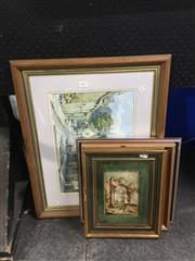 Sale 8702 - Lot 2077 - 4 Works: Guardi - Capricci, oil on board; Artist Unkown - Sketch of a Boys Head; Artist Unknown - Willow Tree & a Print