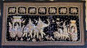 Sale 8510A - Lot 22 - An Indonesian beaded panel depicting elephants and warriors in procession, 90cm x 175cm together with a quantity of cushions of a si...