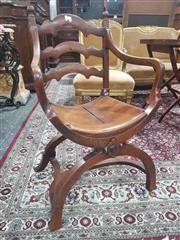 Sale 8917 - Lot 1010 - Antique Walnut Savonarola Style Armchair, with ladder back & timber seat