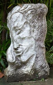 Sale 8990H - Lot 2 - Artist Unknown, Female head in the Cubist style. Carved marble. Height 96 x width 54 x 25cm