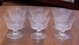 Sale 9190H - Lot 96 - A set of 6 hand cut and etched Pall Mall pattern dessert bowls