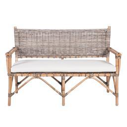 Sale 9250T - Lot 80 - A sofa featuring thick rattan frame & linen cushions. Height 87cm x Width 125cm x Depth 70cm