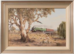 Sale 9256H - Lot 12 - Brian Baigent - Beside the Mainline, Halcyon Days Series, Southbound Riverina Express signed lower left