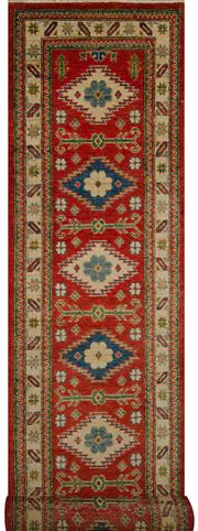 Sale 8418C - Lot 19 - Afghan Kazak Runner 390cm x 80cm