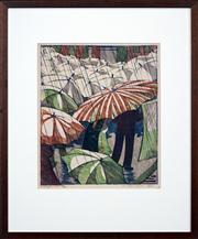 Sale 8411A - Lot 5019 - Ethel Spowers (1890 - 1947) - Wet Afternoon 38 x 32cm (frame size 64 x 53cm)