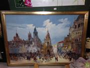 Sale 8622 - Lot 2133 - Artist Unknown, European Street Scene, acrylic on canvas, 68 x 98cm (frame size), sigend lower left