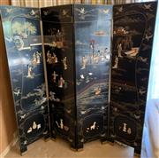 Sale 8510A - Lot 24 - A four panel dressing screen in the oriental taste, black lacquer stone embellishment depicting various scenes, Height of each panel...