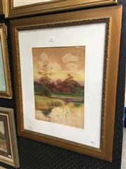Sale 8726 - Lot 2055 - George Oyston - Lake with Distant View of Castle 1911, 62 x 52cm (frame size), signed and dated lower left