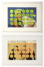 Sale 8964 - Lot 2017 - Ian Thomas (2 works) Untitled (Spots Green/Orange) screenprints on vintage LP cover, 32.5 x 42.5cm; 42.5 x 32.5cm (frames)