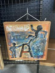 Sale 8995 - Lot 2038 - Britta Opel Ardware (Andy & JP) mixed media on board, 31 x 31cm (frame) signed verso