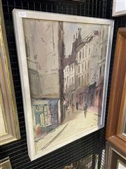 Sale 9004 - Lot 2027 - A Vintage Parisian Street Scene painting by Unknown Artist, 66 x 51cm (frame)