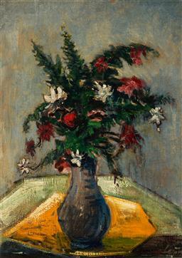 Sale 9125 - Lot 588 - Rene Jacques Lernon (1921 - ) - A Vase of Flowers 44 x 32 cm (frame: 59 x 47 x 4 cm)