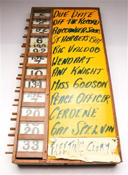 Sale 9131 - Lot 4 - Vintage tote board (76cm x 36cm)
