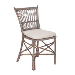 Sale 9250T - Lot 81 - A set of 6 rattan chairs with linen cushions. Height 90cm x Width 46cm x Depth 56cm