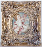 Sale 8430 - Lot 45 - Oval study of a Cherub aloft a cloud in elaborate gilt frame, indistinctly signed lower right, 46 x 42cm including framing.