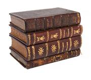 Sale 8439A - Lot 2 - A vintage French 4 book stack secret tantalus, some wear to edges on books, 17 x 13 x 11cm